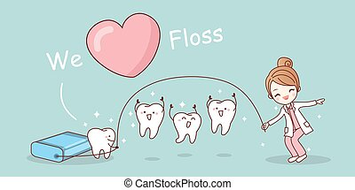 We love floss - cartoon tooth with floss, great for dental...