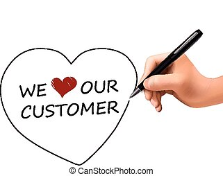 we love our customer written by 3d hand over white