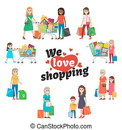 We Love Shopping Set of People with Purchases.