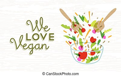 We love vegan food design with vegetable salad