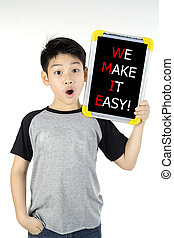 WE MAKE IT EASY! message on white board