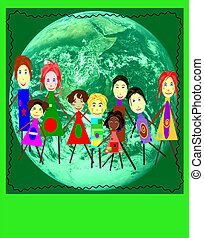 we need an ecological system - Group of kids on a planet...