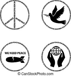 we need peace. Set of vector bages