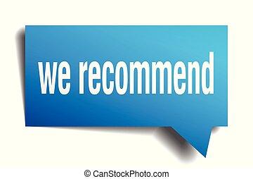 we recommend blue 3d speech bubble - we recommend blue 3d...