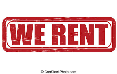 We rent - Stamp with text we rent inside, vector...