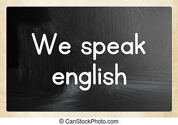 we speak english concept
