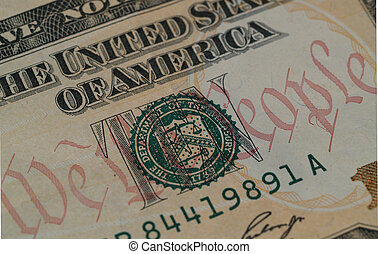 "We The People on $10 Bill 2 - Detail of the motto \""We the..."