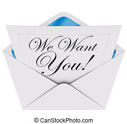 We Want You Invitation Letter Envelope Need Your...