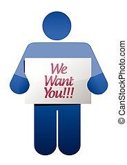 we want you message illustration design
