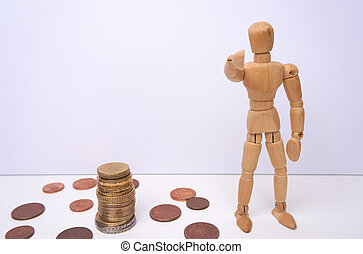 WE WANT YOU - Wooden mannequin, puppet, points his finger at you with copyspace. Making money. Isolated, white background.
