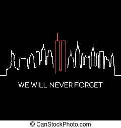 We will never forget memorial banner. USA Remembrance day vector design.