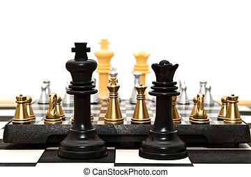 we will play - gold and silver chess on a white background