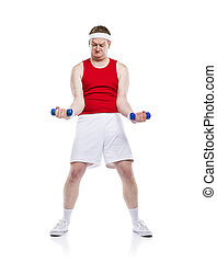 Funny weak body builder tries to lift a weight. Studio shot on white background.