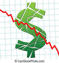 A broken dollar and down chart as a symbol of currency weakness.