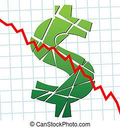 Weak broke dollar US currency money - A broken dollar and...