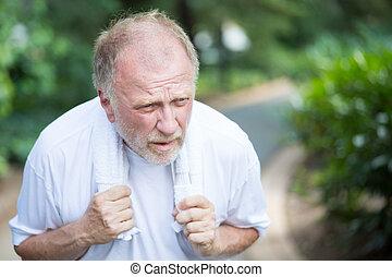 weak old man - Closeup portrait, senior guy holding towel,...
