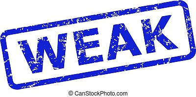 Blue WEAK seal on a white background. Flat vector grunge seal stamp with WEAK title is placed inside rounded rectangular frame. Imprint with grunge style.