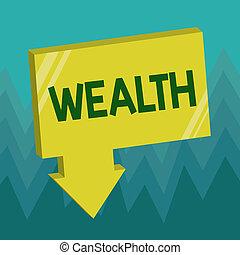 wealth., abondance, possessions, business, être, très, argent, projection, valable, écriture, conceptuel, luxe, riche, photo, showcasing, main, ou