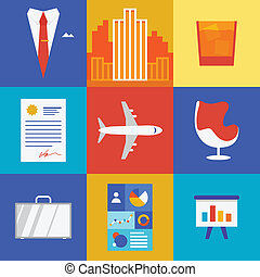 Wealth and business illustration - Vector illustration icons...