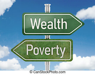 Wealth and poverty arrows pointing opposite directions. 3D illustration.