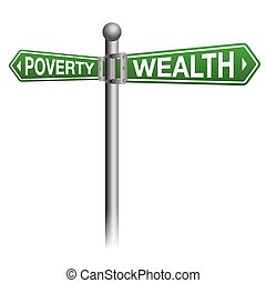 Wealth and Poverty Sign Concept - A street sign depicting...
