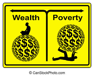 Wealth and Poverty - Concept sign of social and economic...