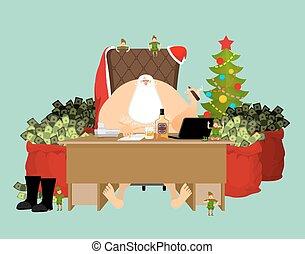 wealth., antigas, escritório, dinheiro., gainings., ano, uísque, relaxes., salário, ricos, renda, natal., novo, well-earned, vermelho, cigar., claus, bebida, workplace., vidro, santa, após, fresco, trabalho, ice., saco, man., garrafa, xmas