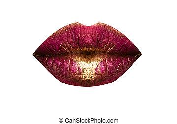 wealth., beau, mode, or, baisers, cosmetics., lèvres, fin, mouth., sensuelles, haut, rouge lèvres, concept., pattern., gold., coûteux, luxe, rouges, femme, beauté, baiser, lips., macro