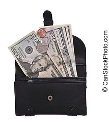 wealth - Black leather purse with dollars and coins