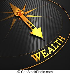 "Wealth - Business Background. Golden Compass Needle on a Black Field Pointing to the Word ""Wealth"". 3D Render."