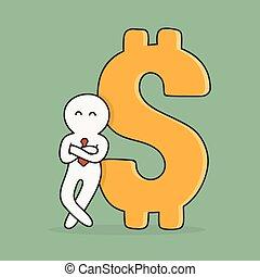 Wealth. Businessman With Big Dollar Sign.
