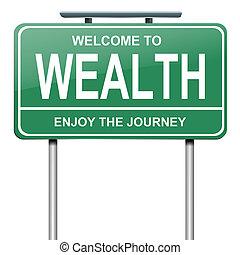 Wealth concept. - Illustration depicting a green roadsign...