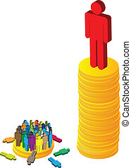 Large figure possessing insurmountable of money while lots of other smaller figure only have a handful.