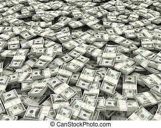 wealth., dollar., 3d, fondo, pacchi