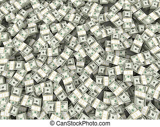 wealth., dollar., 3d, plano de fondo, paquetes