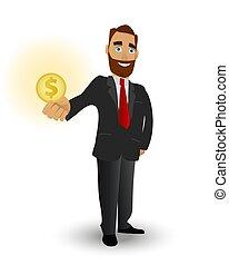 wealth., financier, or, reussite, symbole, business, business, monnaie, tenue, performance, homme fort