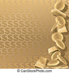 Wealth - Gold coins and goldbars on a gold dollar...