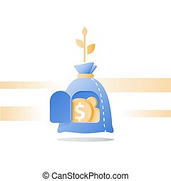 Wealth growth, time is money, financial security, pension fund, superannuation concept, income growth, capital value increase