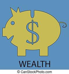 Wealth icon flat design