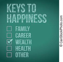 wealth., llaves, diseño, felicidad, ilustración