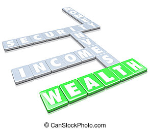 The words Wealth, Invest, Security, Money and Income on letter tiles from a board game to illustrate saving cash and accumulating funds to finance retirement or what you want in life