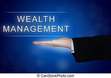 wealth management button on blue background