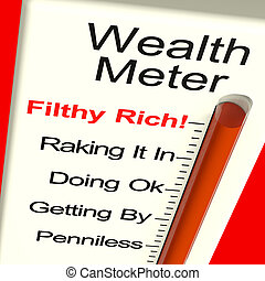 Wealth Meter Showing Money And Being Rich - Wealth Meter...