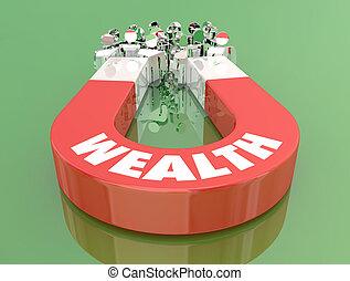 Wealth Money Income Earning Magnet Pulling People 3d Illustration