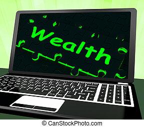 Wealth On Laptop Shows Abundance