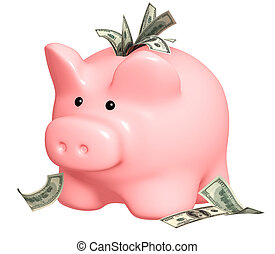 Wealth - Piggy bank and dollars banknotes. Isolated over...