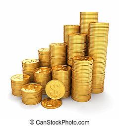 wealth., pirámide, monedas de oro, fondo., blanco, 3d