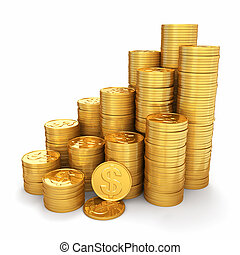 wealth., piramide, monete oro, fondo., bianco, 3d