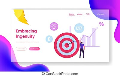 Wealth, Roi, Return on Investment and Money Refund Website Landing Page. Businessman Stand at Huge Target with Arrow in Center Pointing on Dollar Icon Web Page Banner. Cartoon Flat Vector Illustration