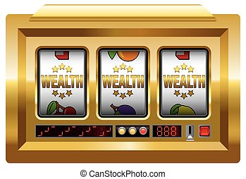 WEALTH SLOT MACHINE - vector on white background.